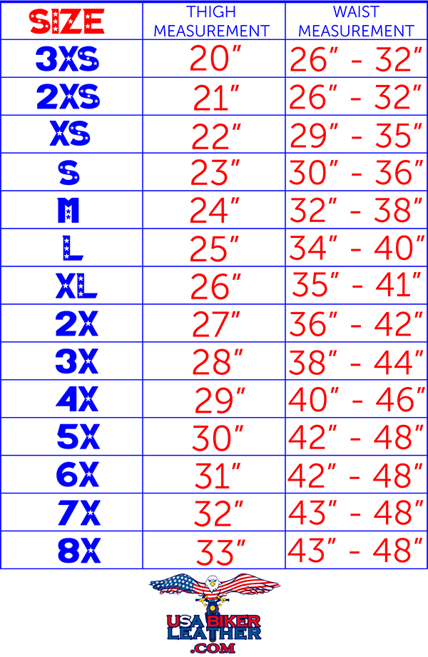 Size chart for DL R series motorcycle leather chaps.