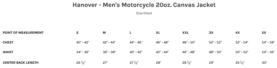 Size Chart for Hanover Men's Canvas Motorcycle Jacket