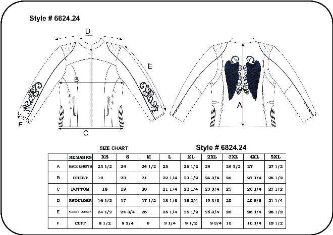 Size Chart for Women's Leather Biker Jacket with Pink Wings.