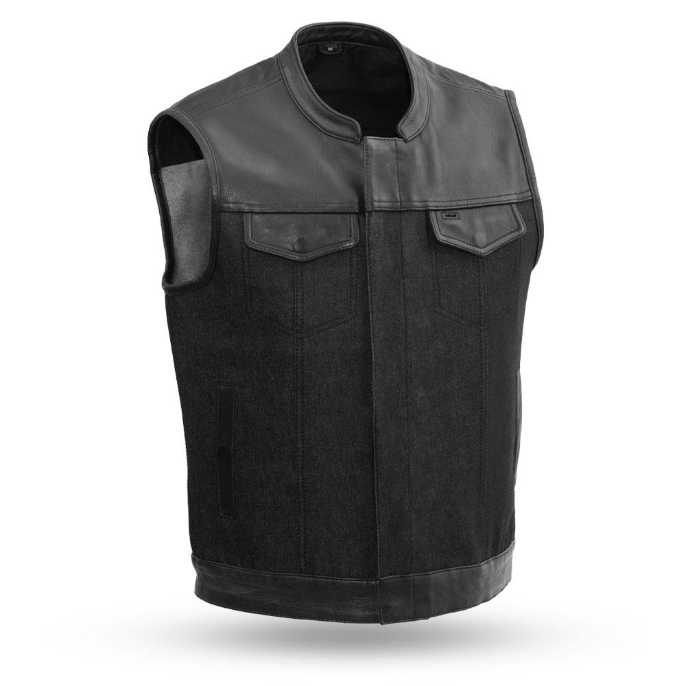 49/51 Men's Denim and Leather Combo Vest - SKU FIM662DM-FM