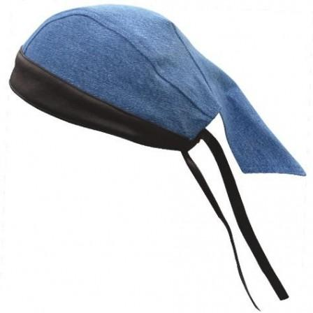 Blue Denim Skull Cap with Black Leather Trim - SKU AL3398-AL