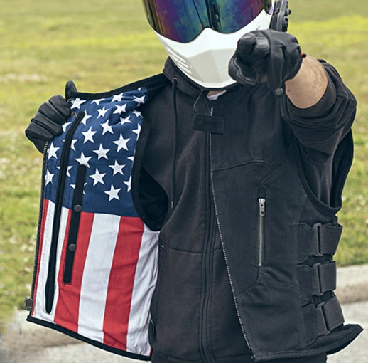 Commando Swat Style Canvas Vest With USA Flag Liner - SKU FIM657CNVS-FM