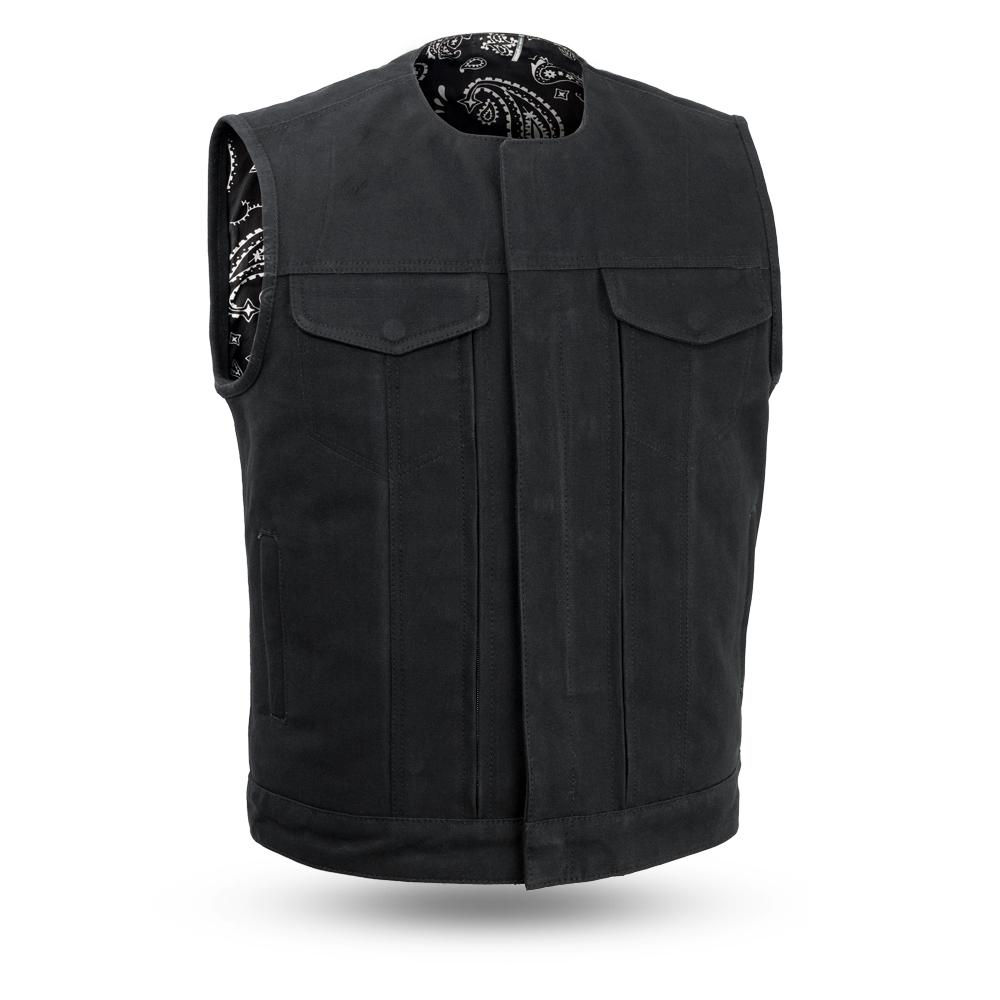Fairfax V2 - Men's Motorcycle Canvas Vest With Black Paisley Liner - SKU FIM633CNVS