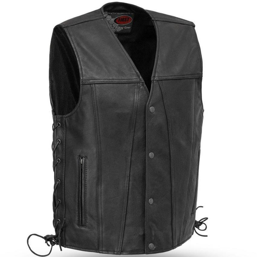 Gambler - Men's Leather Motorcycle Vest - Up To 8X - SKU USA-FIM618CFD-FM