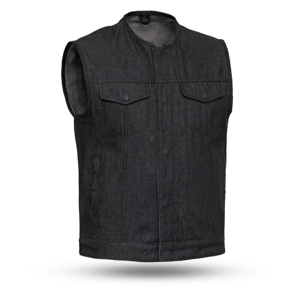 Haywood - Black Denim Men's Motorcycle Vest - SKU FIM634DM-FM