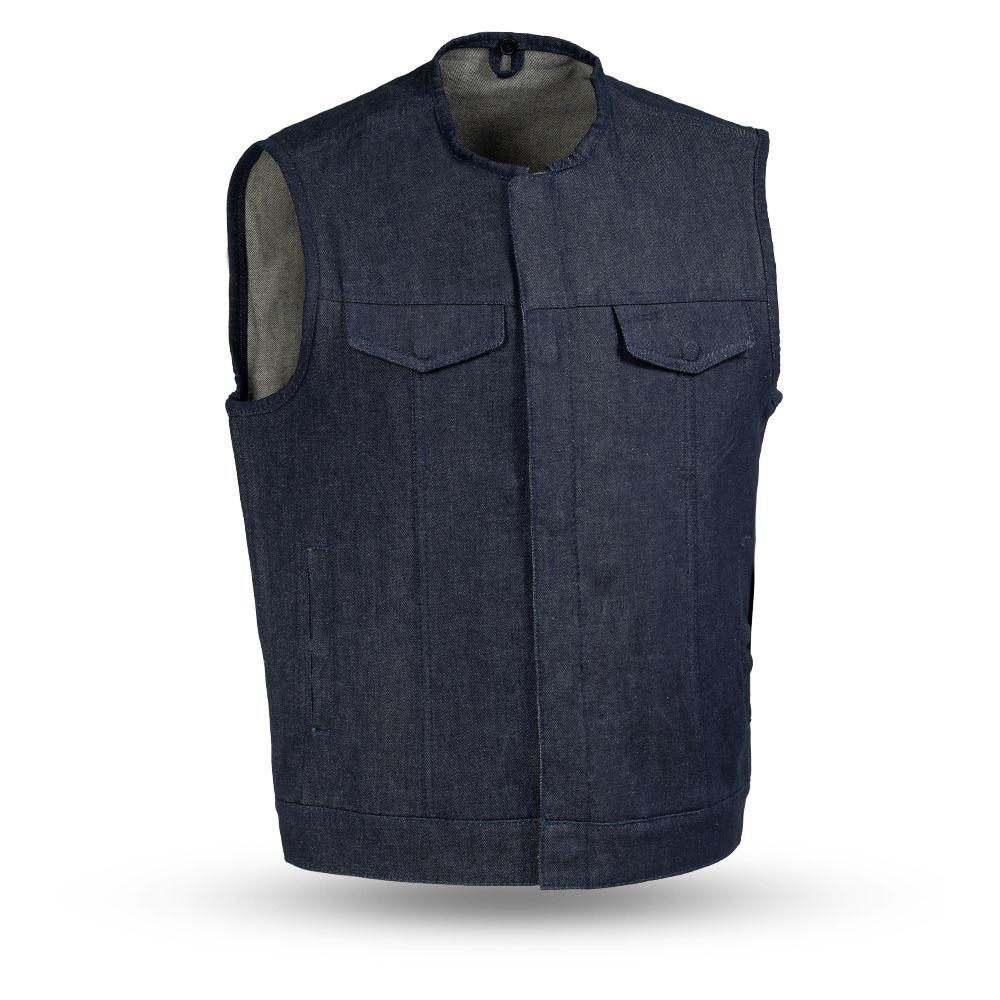 Haywood - Men's Blue Denim Motorcycle Vest - SKU FIM634DM-BLUE-FM