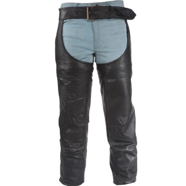Heavy Duty Motorcycle Leather Chaps With Zipper Pocket for Men or Women - SKU C3000-DL