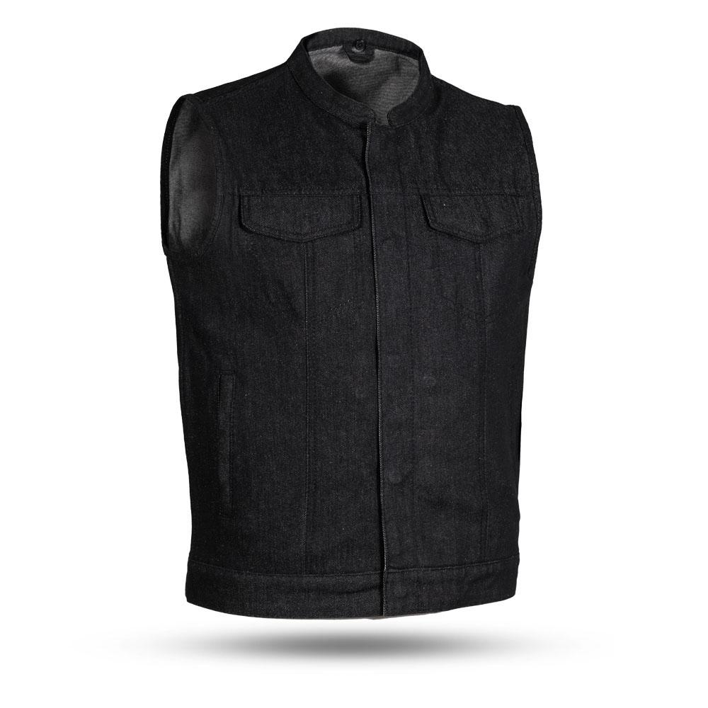 Kershaw - Men's Black Denim Motorcycle Vest - SKU FIM691DM-FM