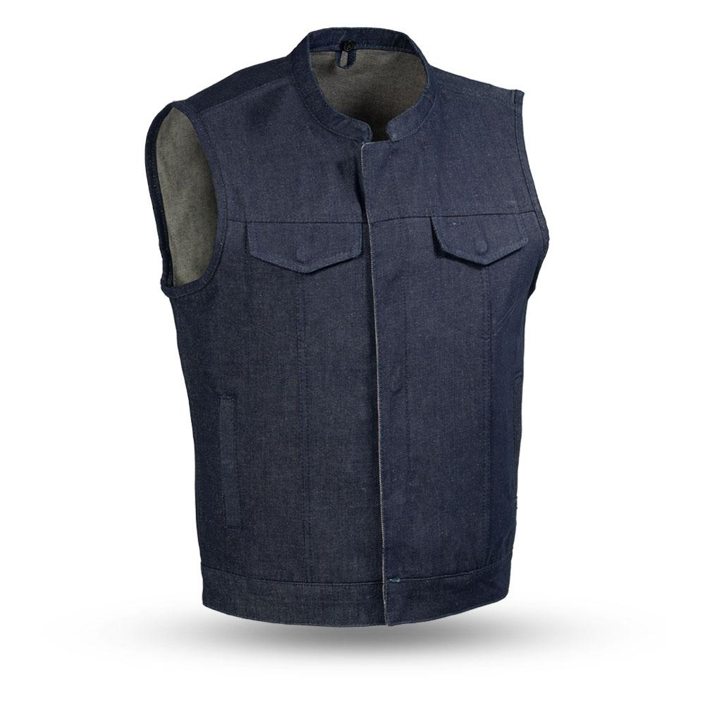 Kershaw - Men's Blue Denim Motorcycle Vest - SKU FIM691DM-BLUE-FM