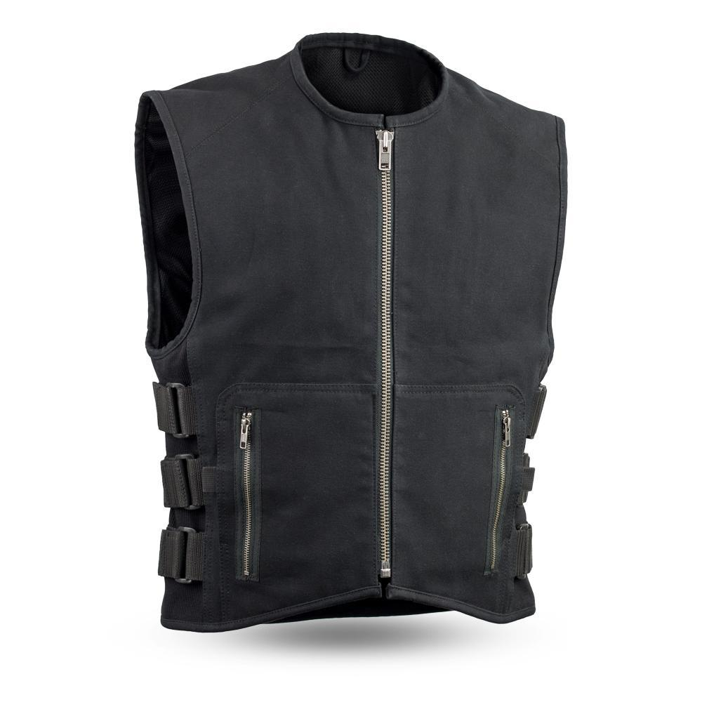 Knox - Men's Black Canvas Motorcycle Vest - SKU FIM660CNVS-FM