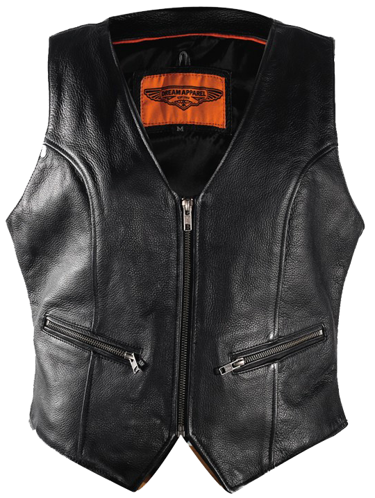 Ladies Leather Motorcycle Zipper Vest with Concealed Carry Pockets - SKU USA-LV8507-DL