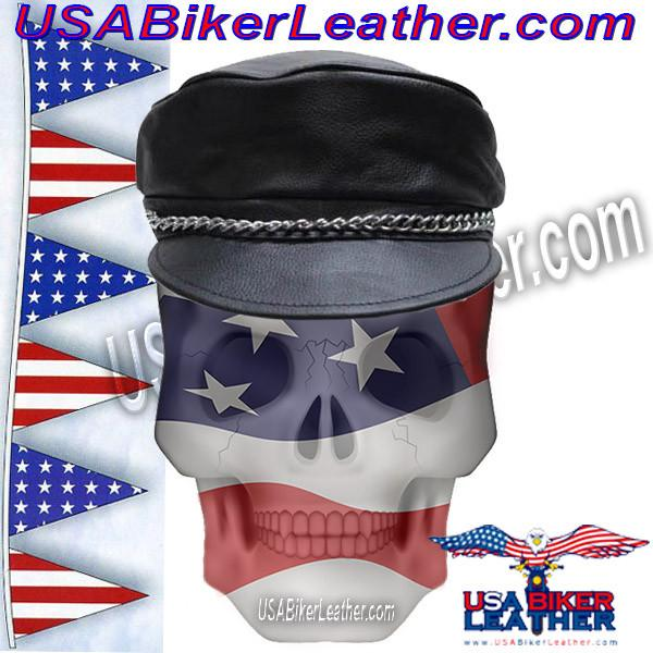 Leather Cap with Chain - Leather Hat - SKU USA-AC008-DL
