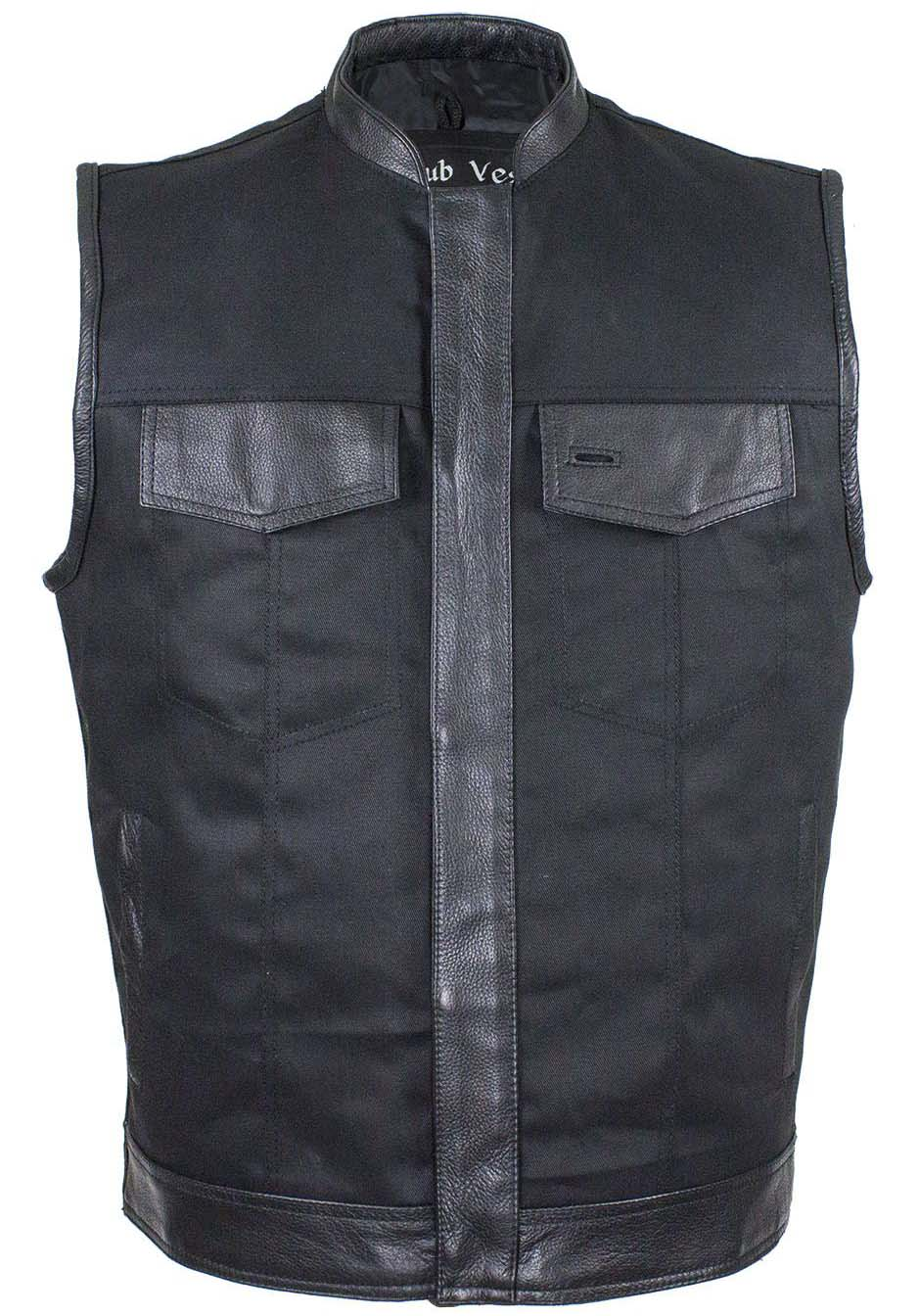 Black Denim Club Vest with Leather Trim For Men - SKU CL-MV8019-ZIP-BD-DL