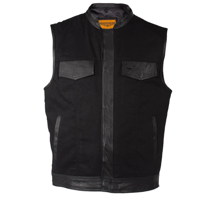 Mens Black Denim Motorcycle Club Vest with Leather Trim - SKU 2-MV8019-ZIP-BD-DL