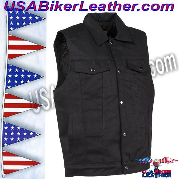 Mens Black Denim Motorcycle Club Vest / SKU USA-MV8020-BD-DL