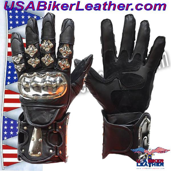 Mens Leather and Metal Gauntlet Racing Gloves / SKU USA-GLZ8-DL