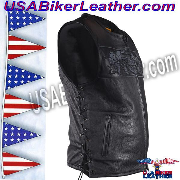 Mens Leather Vest with Night Reflective Skulls and Concealed Carry Pockets / SKU USA-MV8025-DL