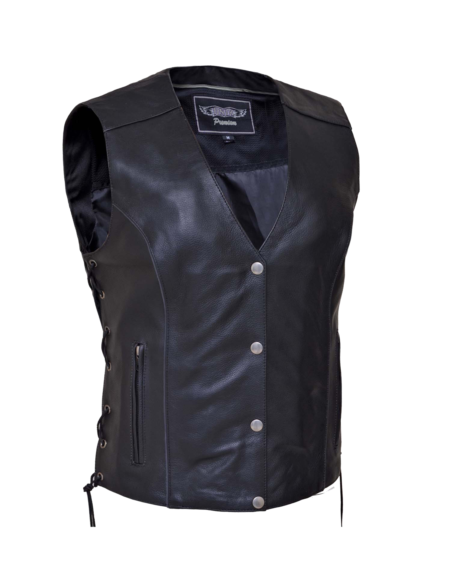 Women's Premium Leather Motorcycle Vest With Side Laces - SKU 6879-PL-UN