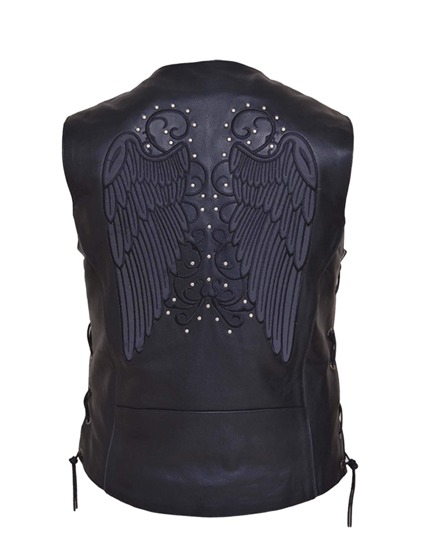 Women's Motorcycle Premium Leather Vest - Dark Gray Wing Embroidery - SKU 6879-RF-UN