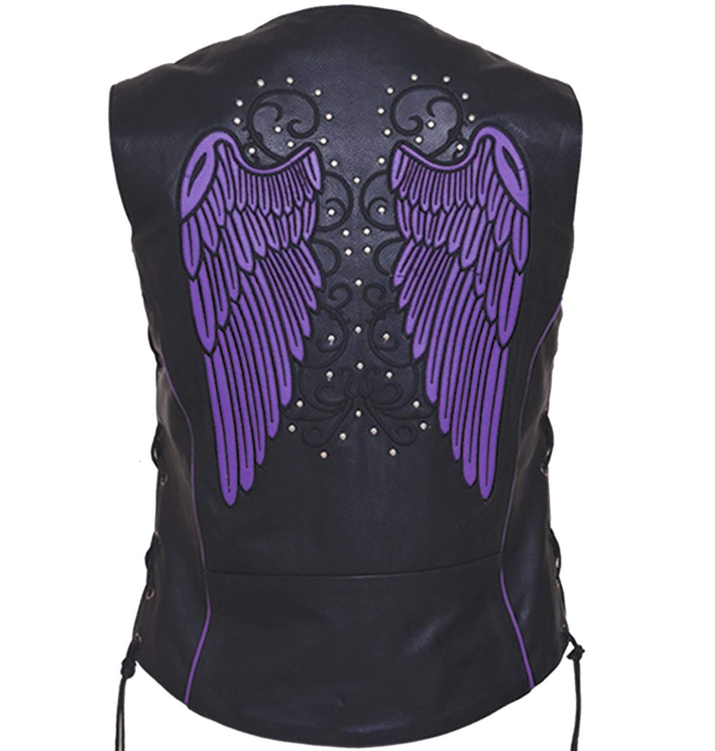 Women's Motorcycle Premium Leather Vest With Purple Wing Embroidery - SKU 6879-17-UN