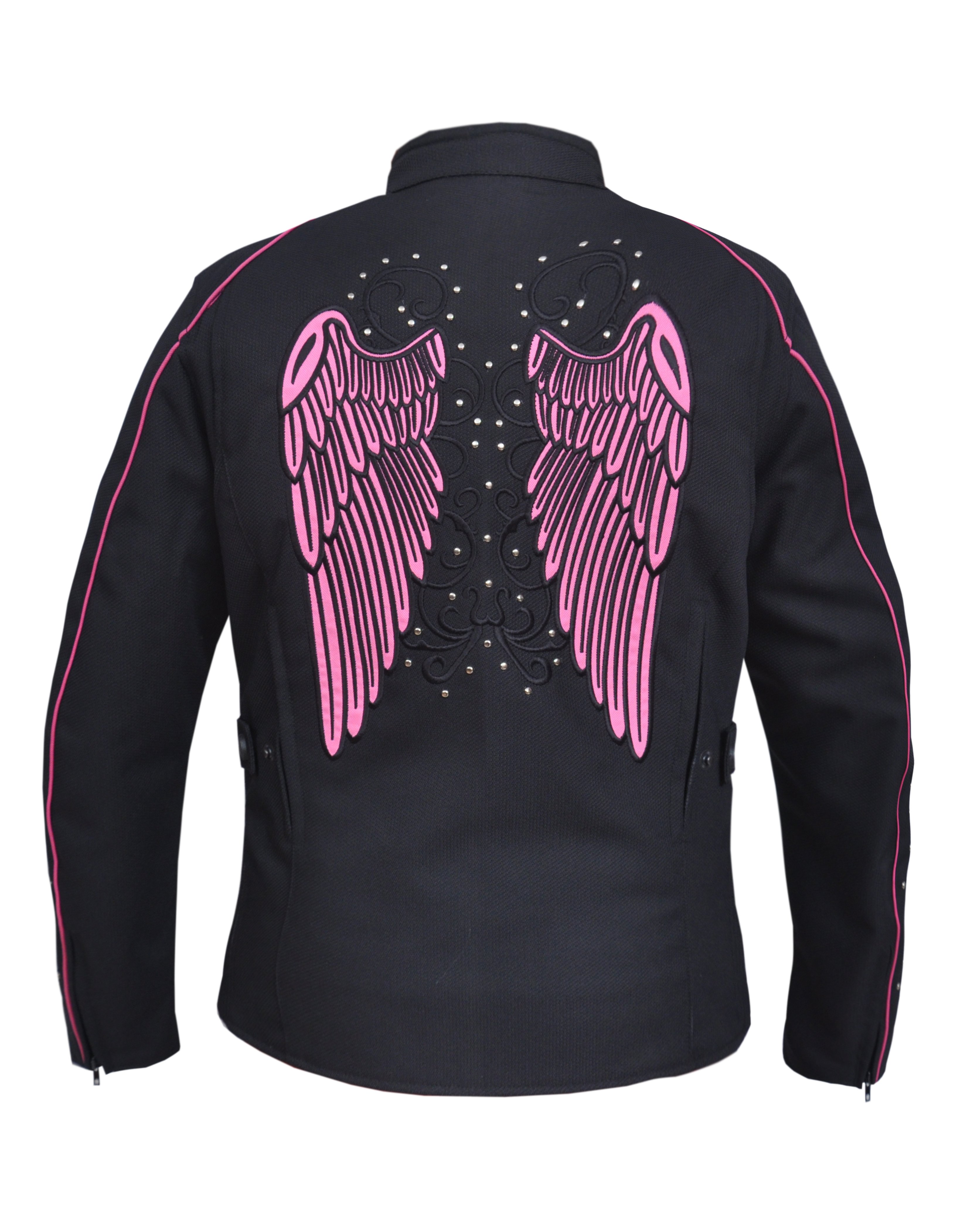 Women's Nylon Textile Jacket With Hot Pink Wings - SKU 3692-24-UN