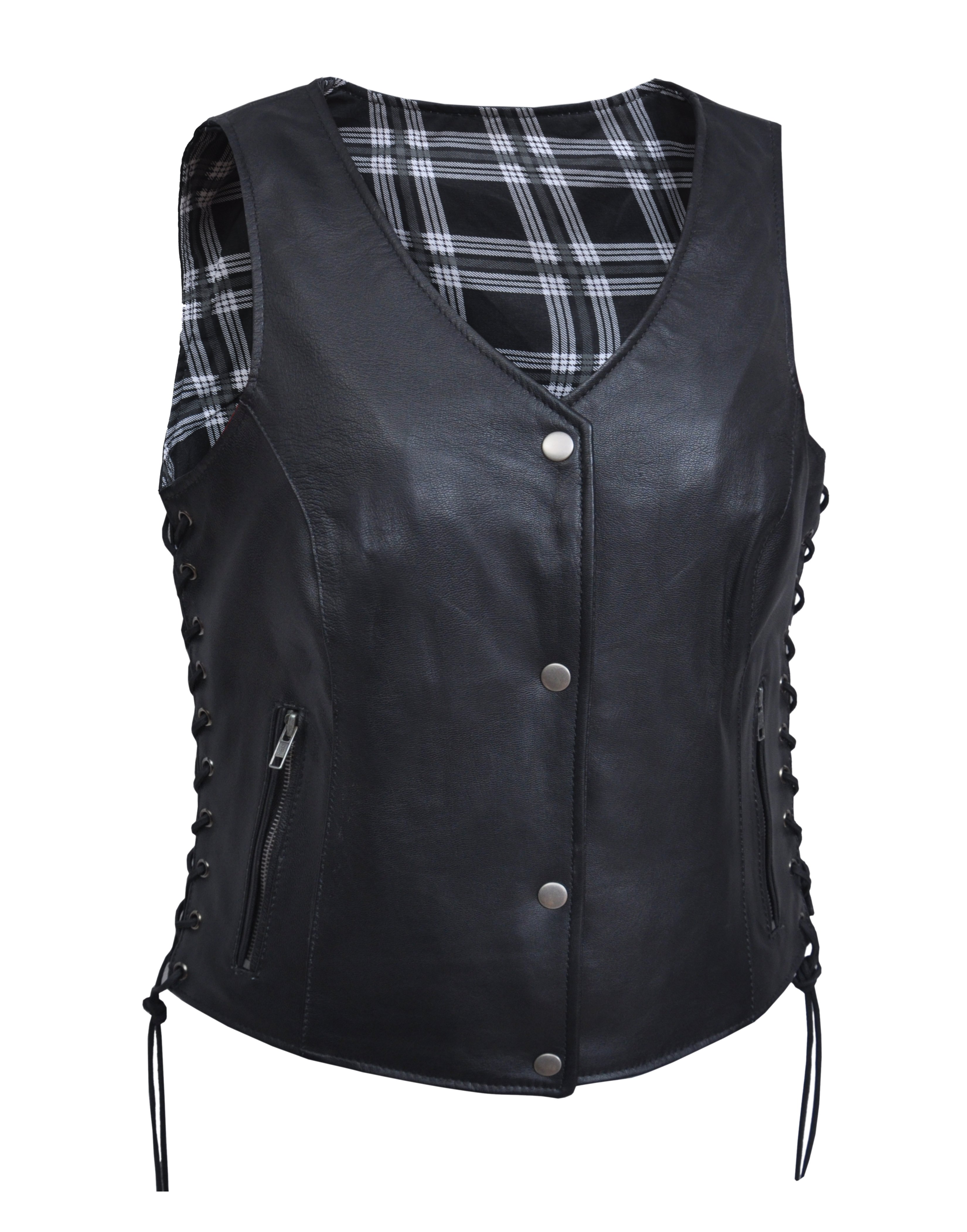Women's Leather Vest with Black and White Flannel Liner - Ladies Vests - SKU 6895-00-UN