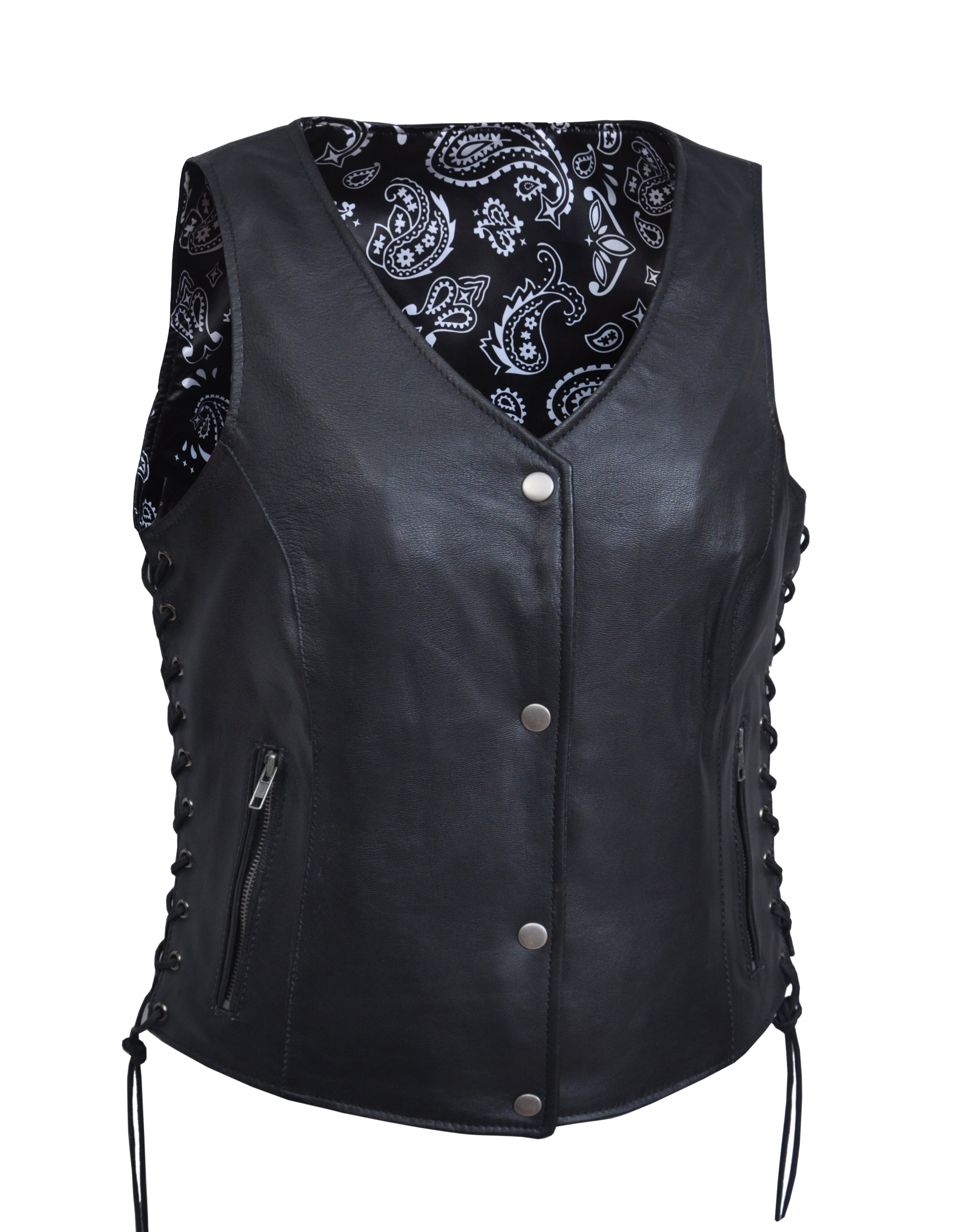 Women's Leather Vest with Black Paisley Lining - Ladies Vests - SKU 6890-00-UN