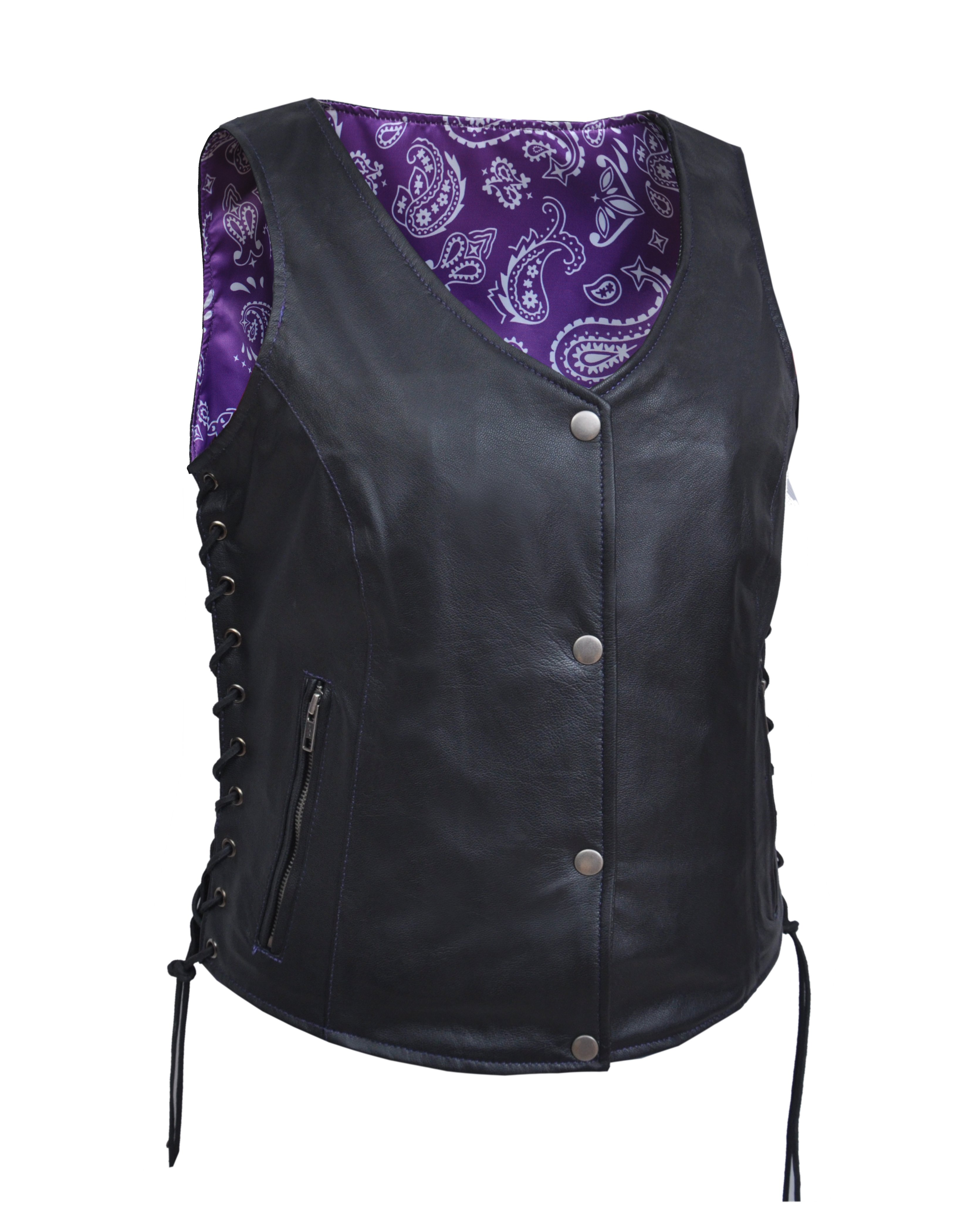 Women's Leather Motorcycle Vest With Purple Paisley Lining - Ladies Vest - SKU 6890-17-UN