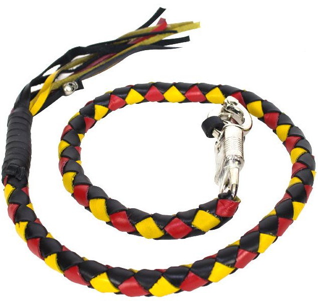 Get Back Whip in Black Red and Yellow Leather - 42 Inches - Motorcycle Accessories - SKU GBW19-11-DL