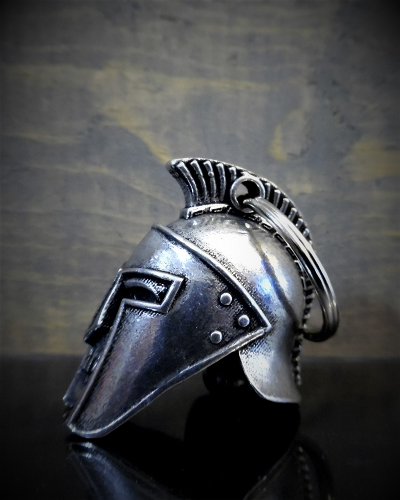 Spartan Helmet - Pewter - Motorcycle Spirit Bell - Made In USA - SKU BB68-DS