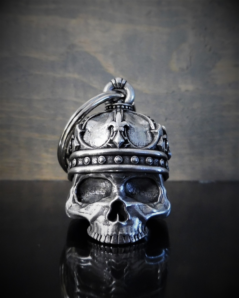 King Skull - Pewter - Motorcycle Gremlin Bell - Made In USA - SKU BB57-DS