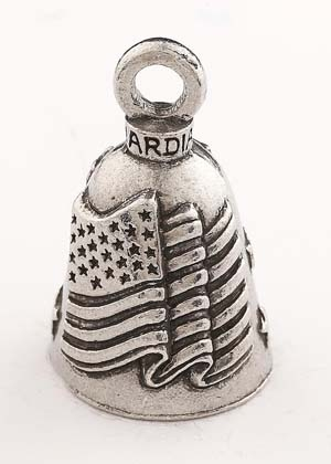 Old Glory - American Flag - Pewter - Motorcycle Guardian Bell® - Made In USA - SKU GB-OLD-GLORY-DS