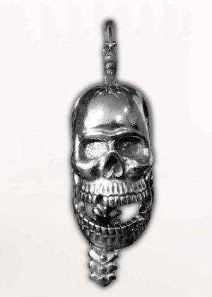 Skull Crush - Pewter - Motorcycle Guardian Bell® - Made In USA - SKU GB-SKULL-CRUSH-DS