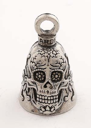 Sugar Skull - Pewter - Motorcycle Guardian Bell® - Made In USA - SKU GB-SUGAR-SKULL-DS