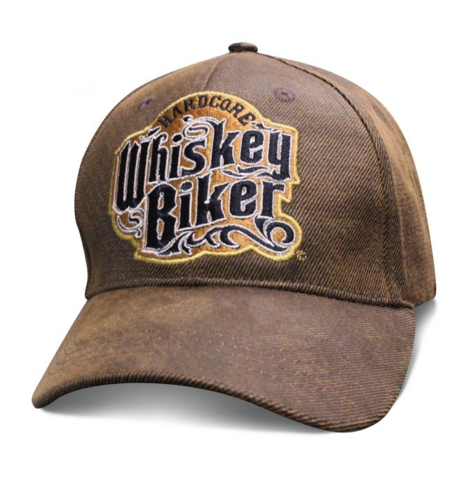 Hardcore Whiskey Biker - Oilskin Brown Hat - Baseball Cap - SKU SWBIKE-DS
