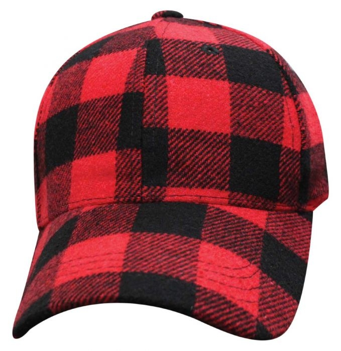 Buffalo Plaid - Baseball Cap - Red and Black - SKU 68PLB-BFP-DS