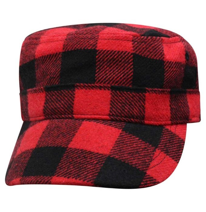 Buffalo Plaid - Fatigue Cap - Red and Black - SKU 68PLD-FBP-DS