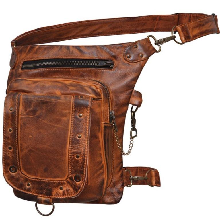 UNIK Ladies Brown Leather Thigh Bags - SKU GRL-5734-ORG-UN