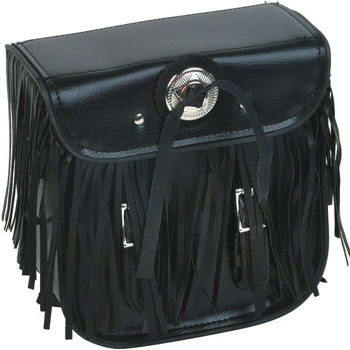 Motorcycle Leather Sissy Bar Bag with Fringe For Motorcycle Storage - SKU SB5004-LEATHER-DL