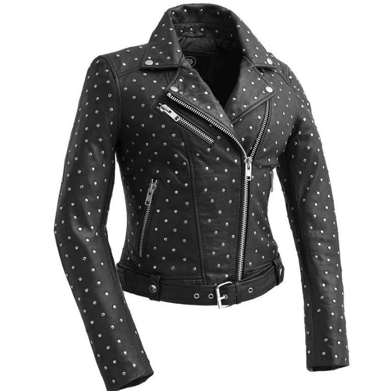 The Claudia - Women's Leather Biker Jacket With Handcrafted Studs -SKU WBL1723-FM