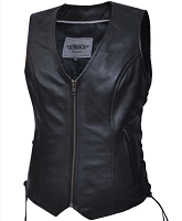 Women's Premium Leather Motorcycle Vest - Ladies Vests - SKU 399-00-UN
