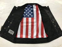 Men's Leather Motorcycle Vest with USA Flag Liner - SKU 6665-USA-UN