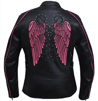 Women's Black With Pink Trim Leather Jacket with Tribal Angel Wings and Studs - SKU 6824.24-UN