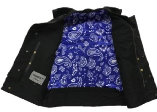 Men's Leather Motorcycle Club SOA Vest with Blue Paisley Liner - SKU 6665-03-UN