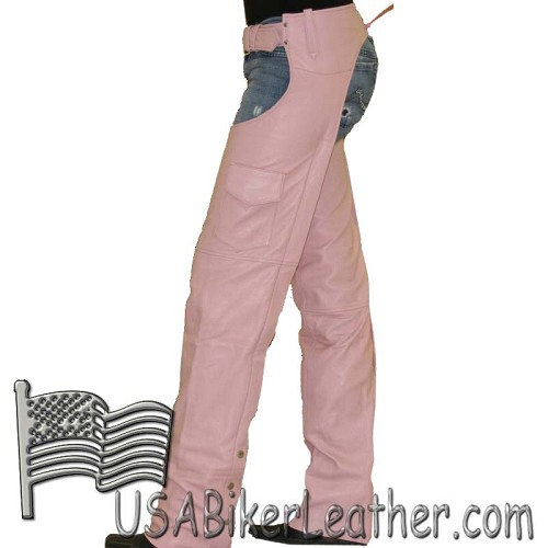 Ladies Pink Naked Leather Motorcycle Chaps With Pocket - SKU USA-C325-PINK-DL