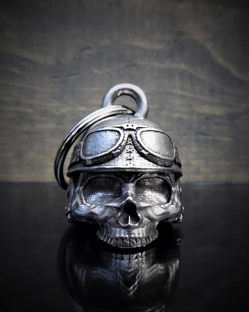 Motorcycle Helmet Skull - Pewter - Motorcycle Ride Bell - Made In USA - SKU BB30-DS