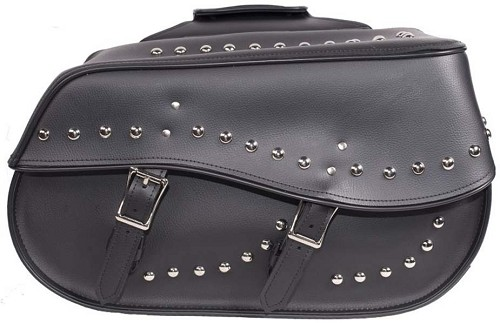 Black PVC Motorcycle Saddlebags with Studs - Biker Luggage - SKU SD4068-PV-DL
